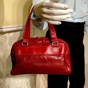 Roots Leather Dual Handle Red Satchel Bag